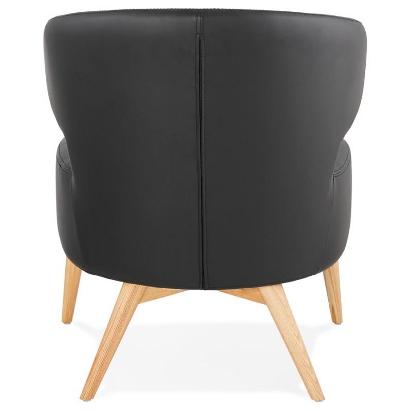 Fauteuil design YASUO en polyuréthane pieds bois couleur naturelle (noir) - image 43215