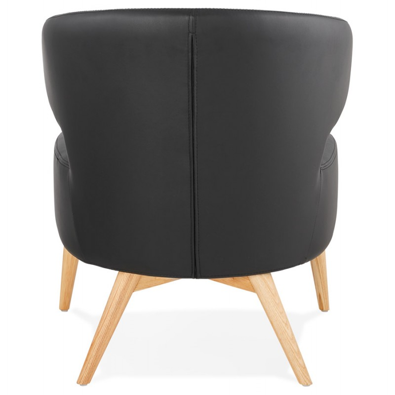 Sedia YASUO design in poliuretano piedi legno colore naturale (nero) - image 43215