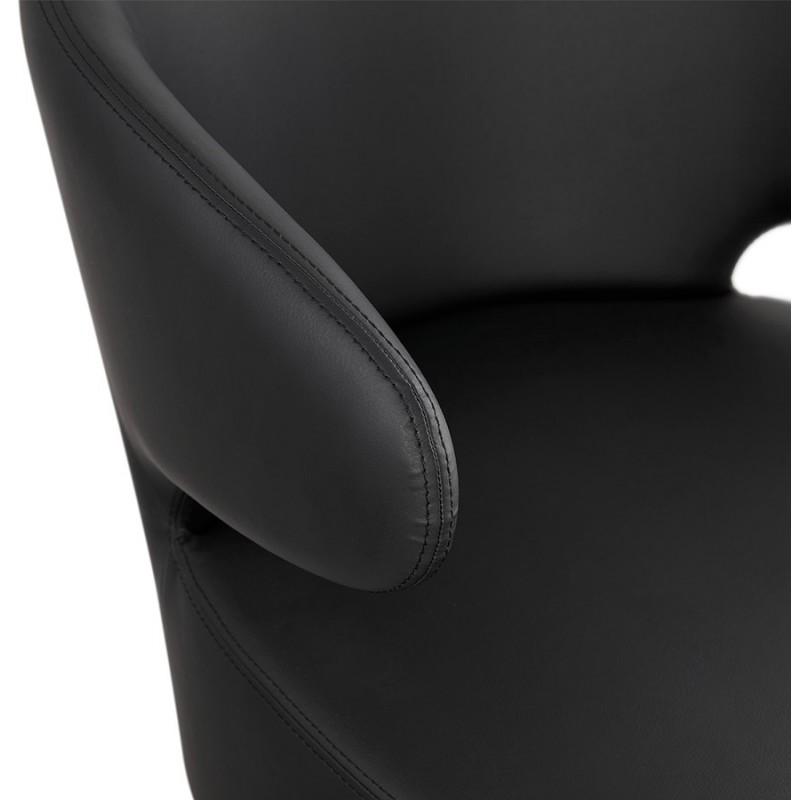 Fauteuil design YASUO en polyuréthane pieds bois couleur naturelle (noir) - image 43219