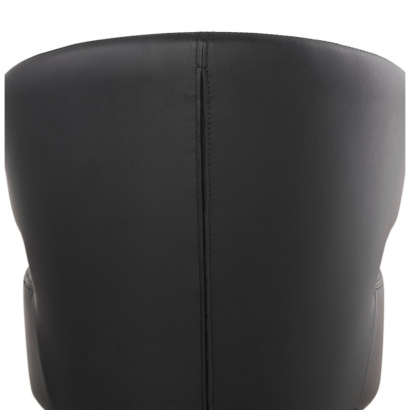 Fauteuil design YASUO en polyuréthane pieds bois couleur naturelle (noir) - image 43223
