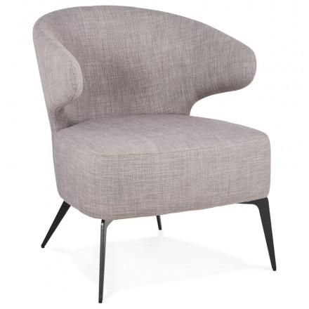 YASUO design chair in black metal foot fabric (light grey)