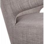 Fauteuil design YASUO en tissu pieds métal couleur noire (gris clair)