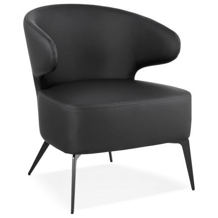 YASUO Designstuhl aus Polyurethan Füße Metall schwarz (schwarz)