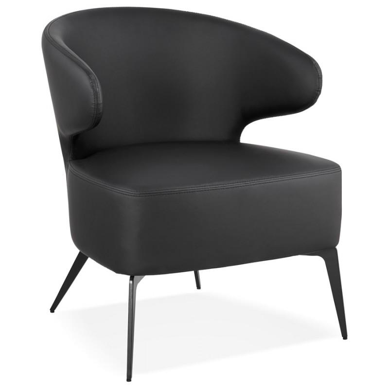 Fauteuil design YASUO en polyuréthane pieds métal couleur noire (noir)