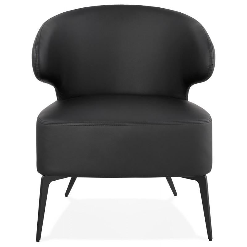 Fauteuil design YASUO en polyuréthane pieds métal couleur noire (noir) - image 43249