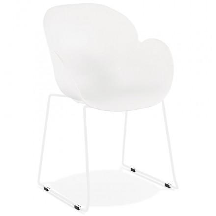 Chaise design CIRSE en polypropylène pieds métal couleur blanche (blanc)
