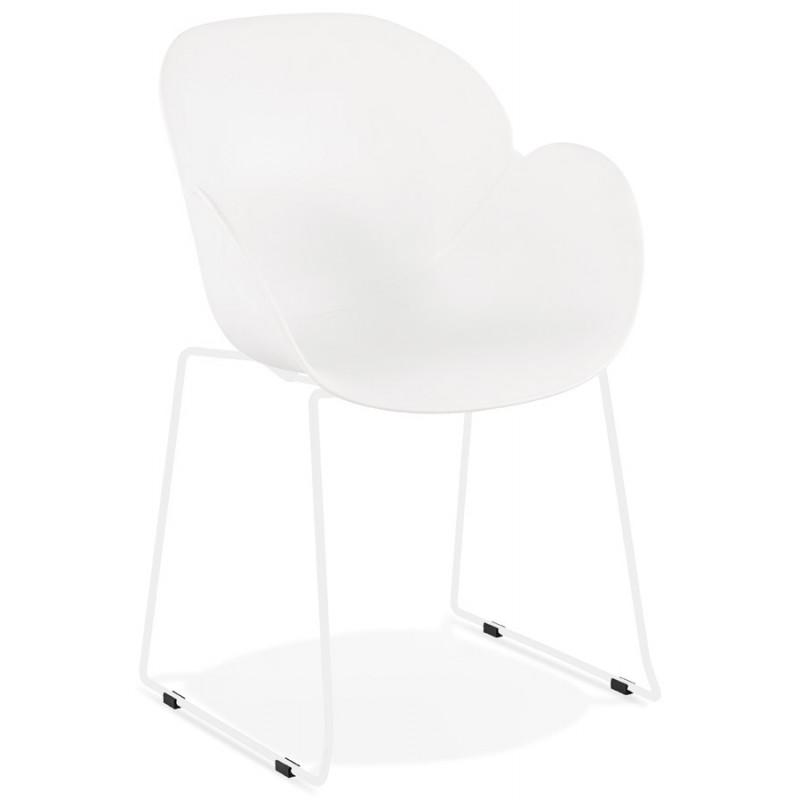 Chaise design CIRSE en polypropylène pieds métal couleur blanche (blanc) - image 43260