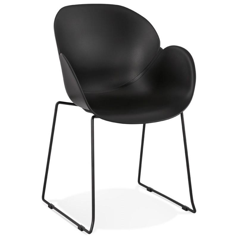 Silla de diseño CIRSE en patas de metal negro de polipropileno (negro)