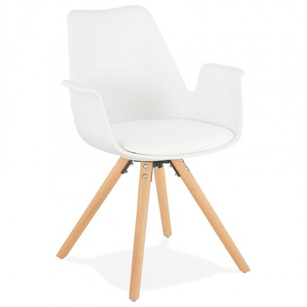 Scandinavian design chair with ARUM feet natural-coloured wooden armrests (white)