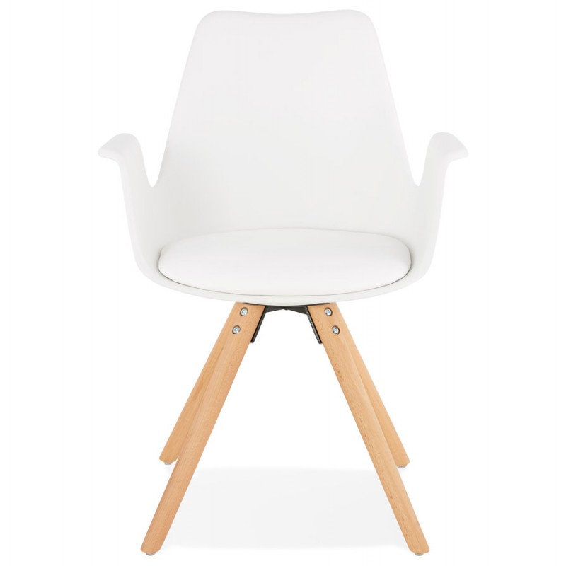 Scandinavian design chair with ARUM feet natural-coloured wooden armrests (white) - image 43283