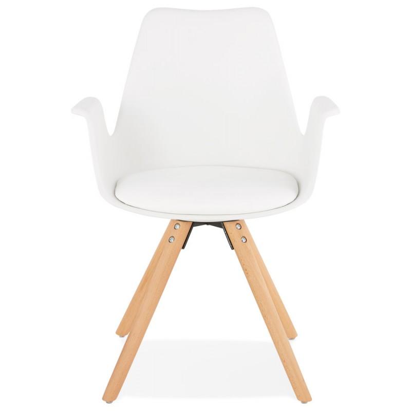Skandinavischer Designstuhl mit ARUM Füßen naturfarbenen Holzarmlehnen (weiß) - image 43283