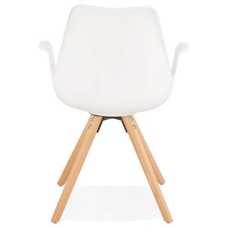 Scandinavian design chair with ARUM feet natural-coloured wooden armrests (white) - image 43286