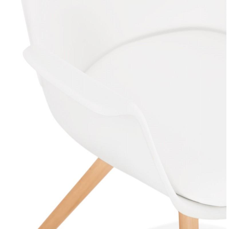 Chaise design scandinave avec accoudoirs ARUM pieds bois couleur naturelle (blanc) - image 43289