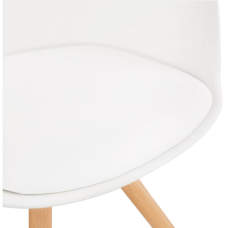 Chaise design scandinave avec accoudoirs ARUM pieds bois couleur naturelle (blanc) - image 43291