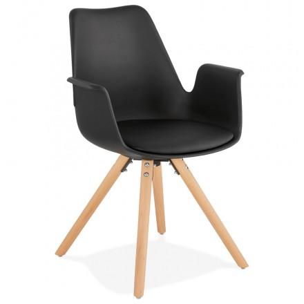 Chaise design scandinave avec accoudoirs ARUM pieds bois couleur naturelle (noir)
