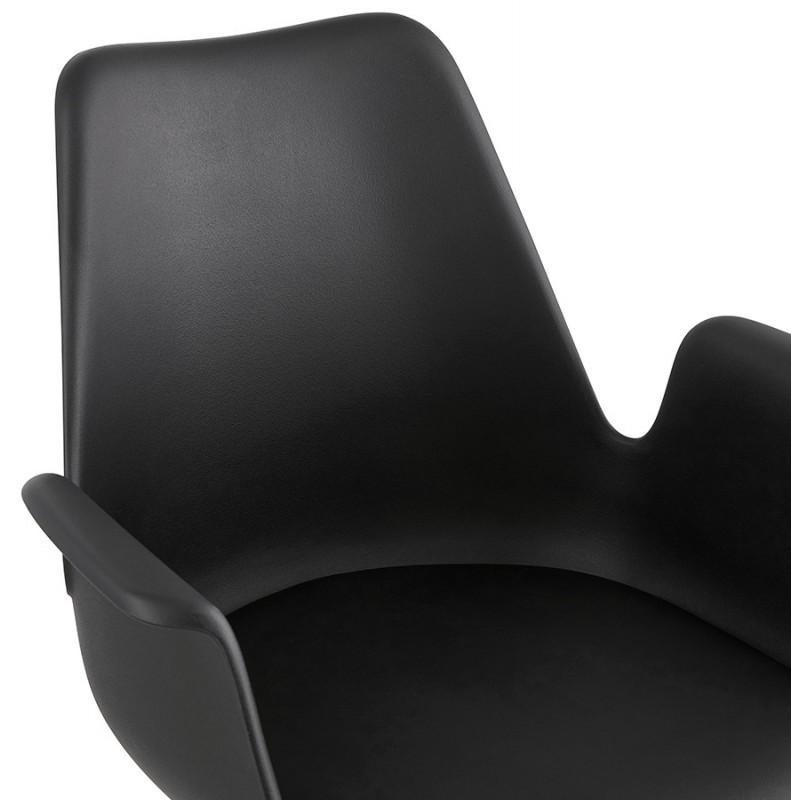 Chaise design scandinave avec accoudoirs ARUM pieds bois couleur naturelle (noir) - image 43300