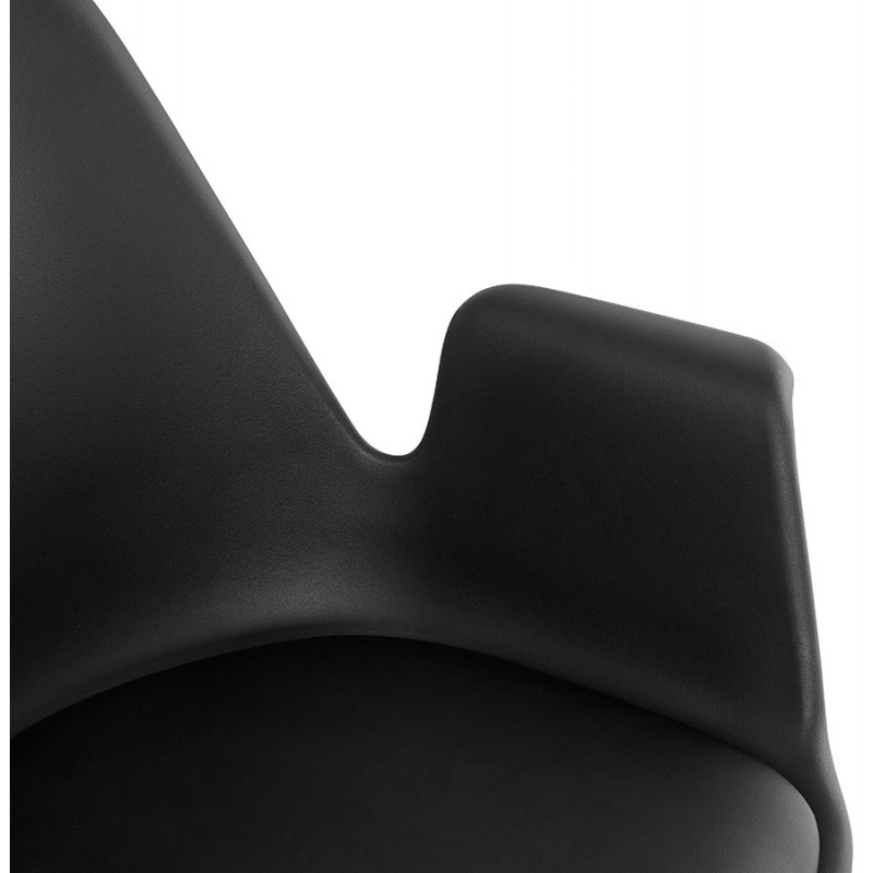 Scandinavian design chair with ARUM feet natural-coloured wooden foot restless (black) - image 43302