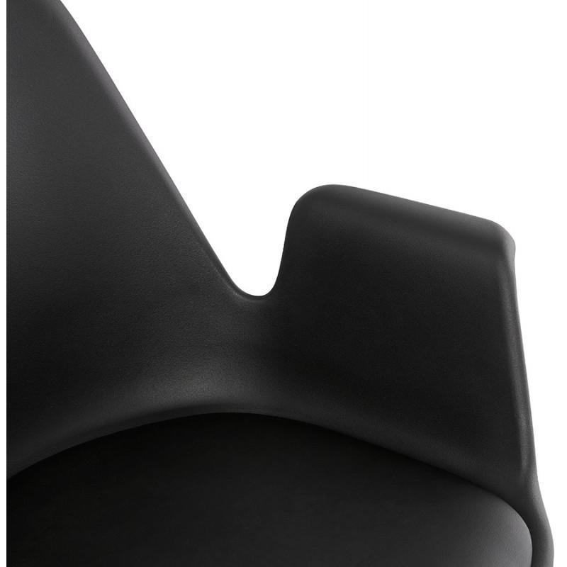 Chaise design scandinave avec accoudoirs ARUM pieds bois couleur naturelle (noir) - image 43302