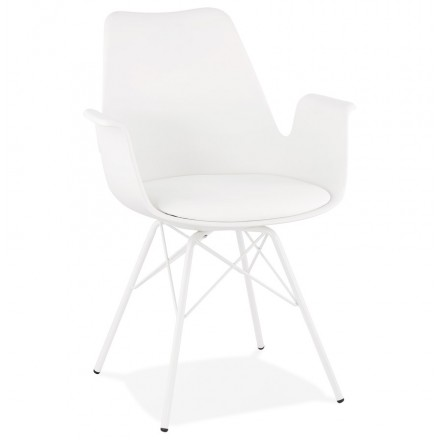 Industrial design chair with ORCHIS armrests in polypropylene (white)