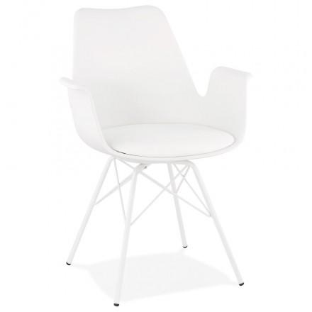 Sedia di design industriale con braccioli ORCHIS in polipropilene (bianco)