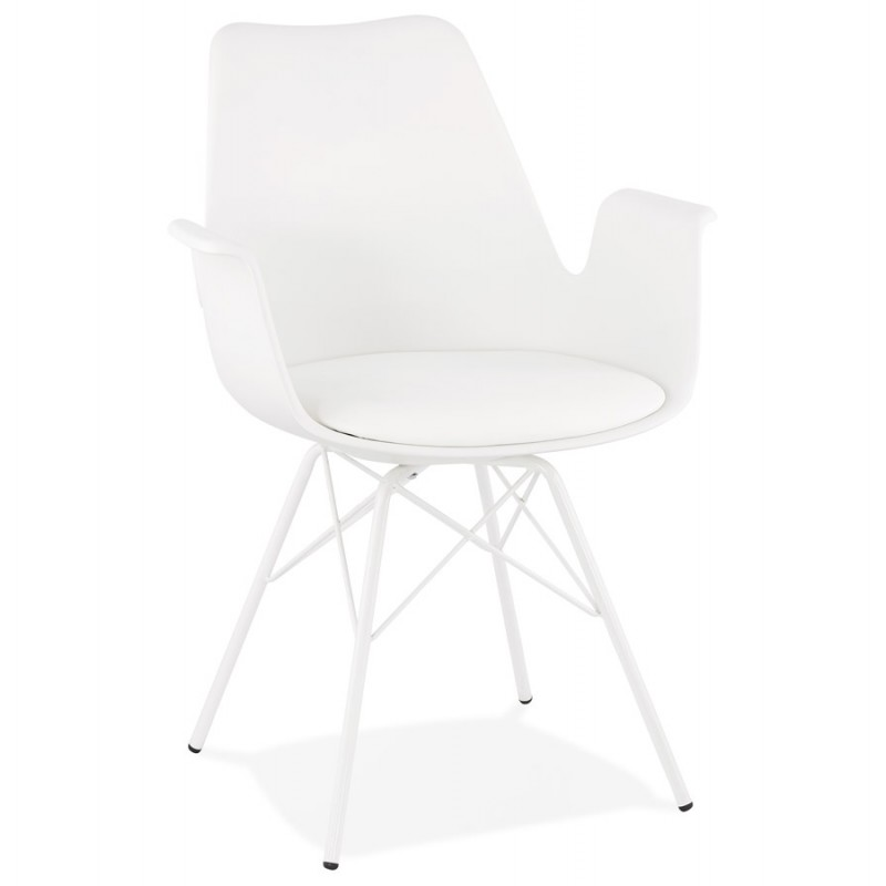 Chaise design industrielle avec accoudoirs ORCHIS en polypropylène (blanc)