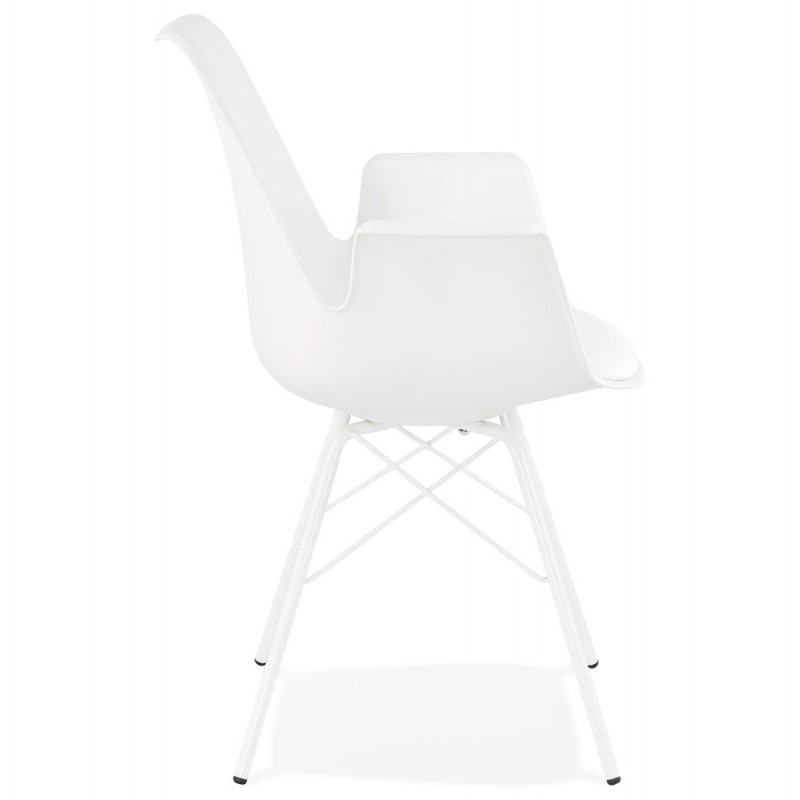 Silla de diseño industrial con apoyabrazos ORCHIS en polipropileno (blanco) - image 43308