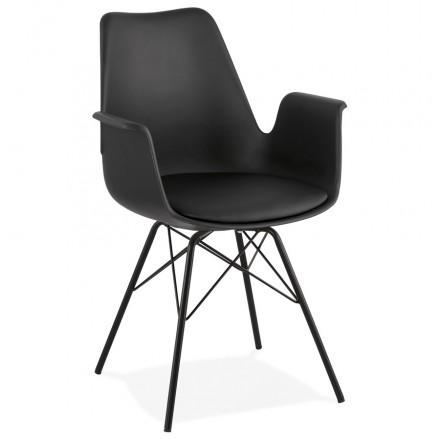 Chaise design industrielle avec accoudoirs ORCHIS en polypropylène (noir)