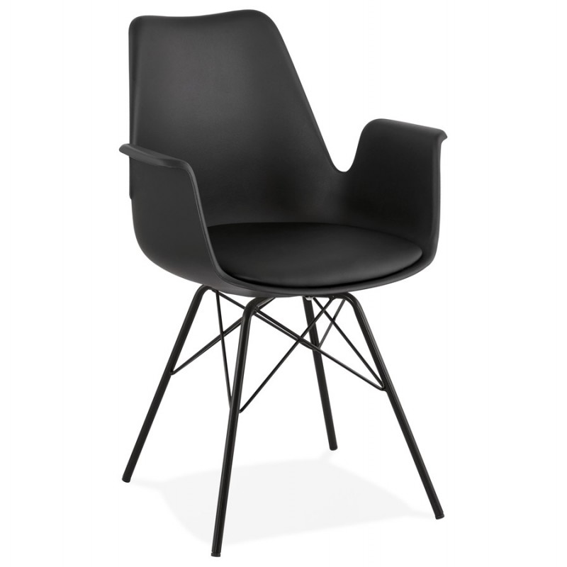 Industrial design chair with ORCHIS armrests in polypropylene (black)