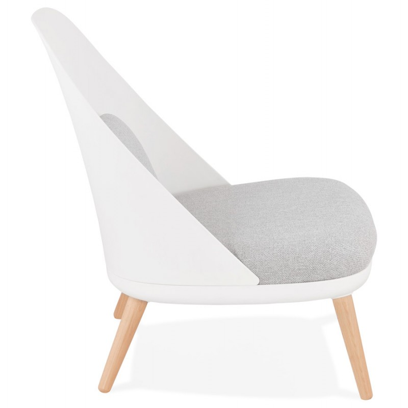 Fauteuil lounge design scandinave AGAVE (blanc, gris clair) - image 43328