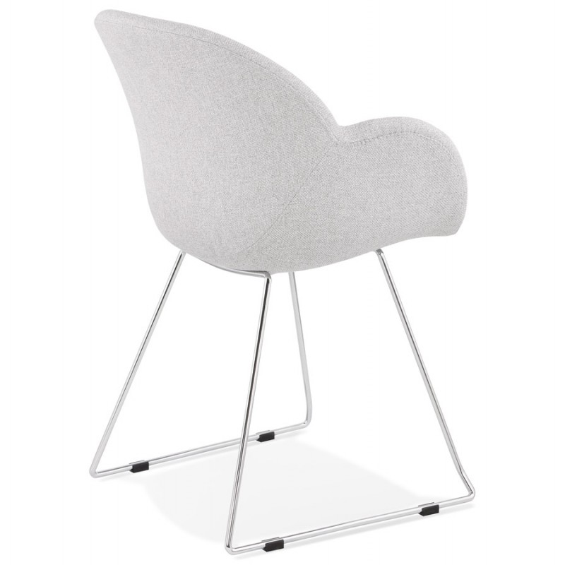 Chaise design pied effilé ADELE en tissu (gris clair) - image 43354