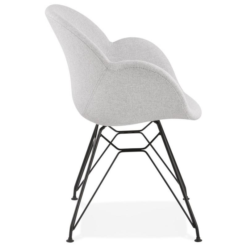 Chaise design style industriel TOM en tissu pieds métal noir (gris clair) - image 43379