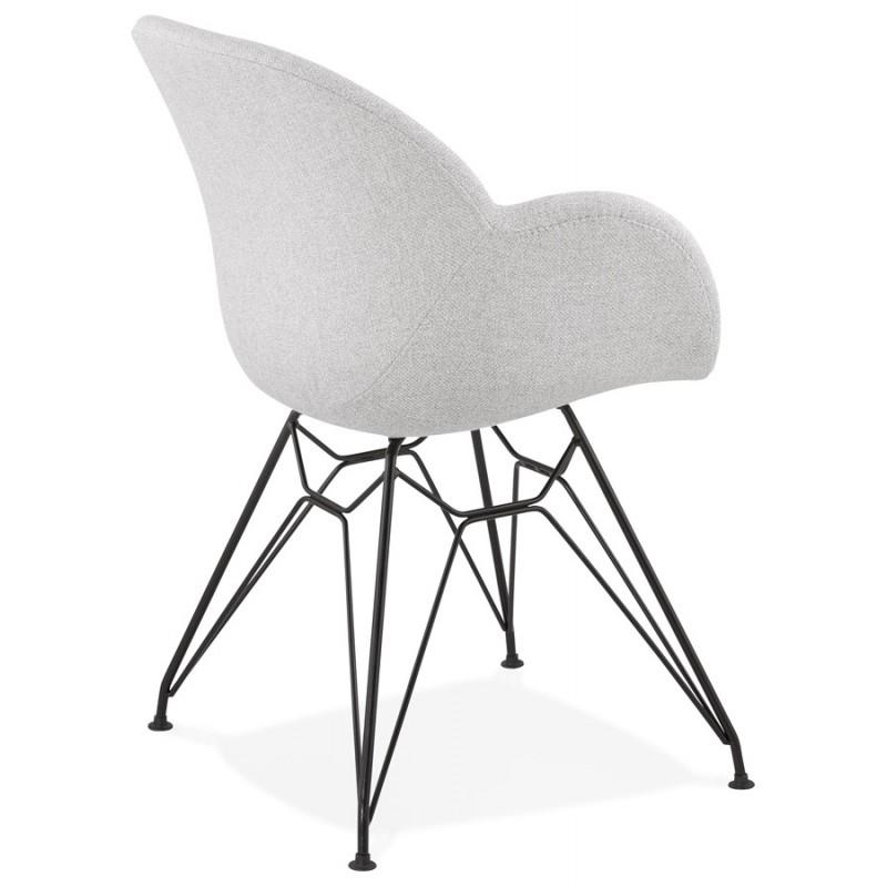 Chaise design style industriel TOM en tissu pieds métal noir (gris clair) - image 43380