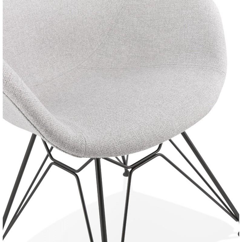 Chaise design style industriel TOM en tissu pieds métal noir (gris clair) - image 43383