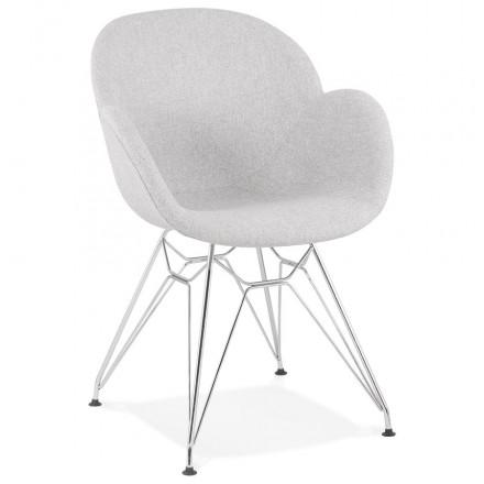 TOM Industrie-Stil Design Stuhl aus Chrom Metall Fußstoff (hellgrau)