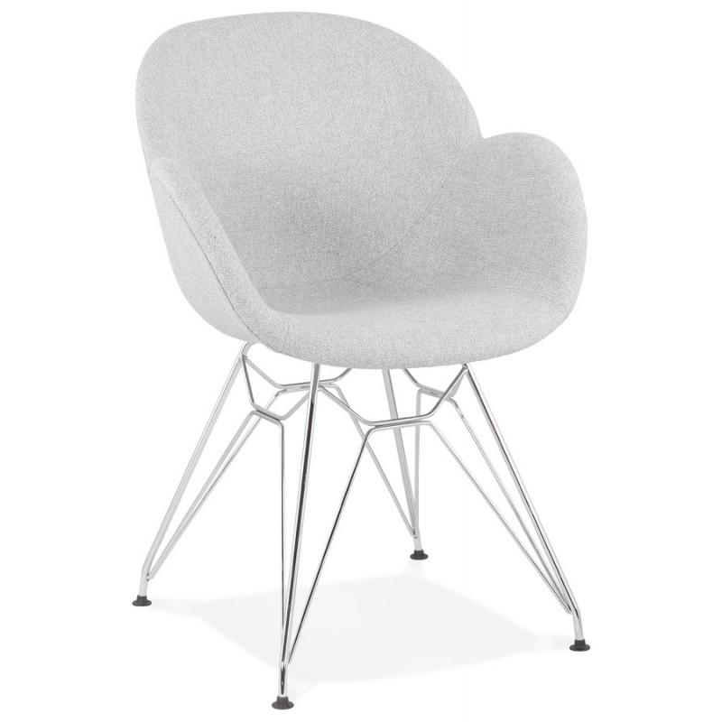 Chaise design style industriel TOM en tissu pieds métal chromé (gris clair) - image 43390