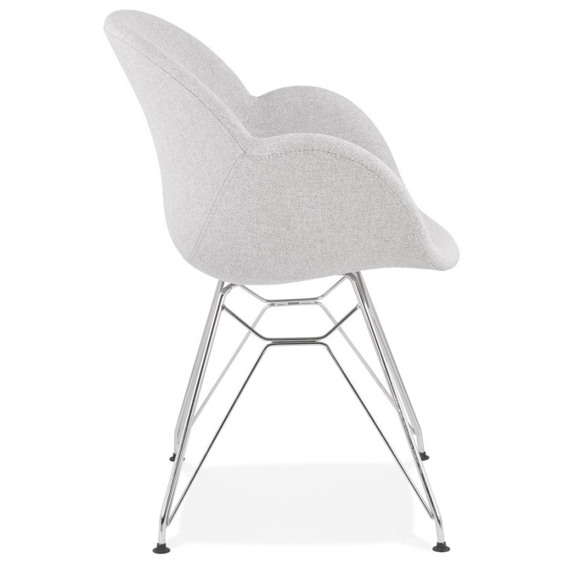 Chaise design style industriel TOM en tissu pieds métal chromé (gris clair) - image 43392