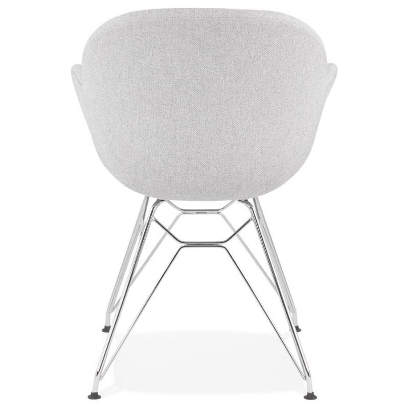 Chaise design style industriel TOM en tissu pieds métal chromé (gris clair) - image 43394