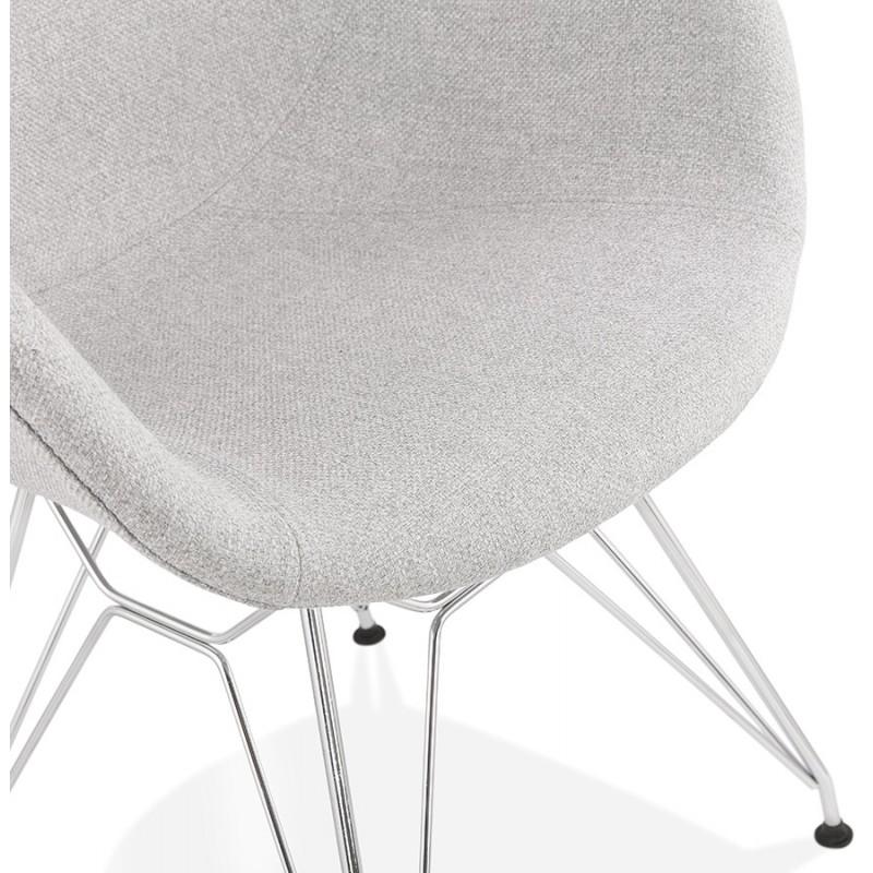 Chaise design style industriel TOM en tissu pieds métal chromé (gris clair) - image 43396