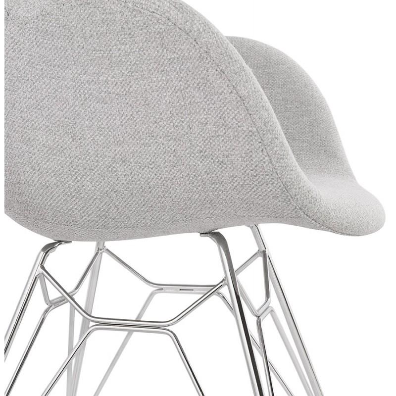Chaise design style industriel TOM en tissu pieds métal chromé (gris clair) - image 43397
