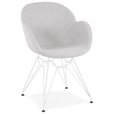 TOM industrial style design chair in white painted metal fabric (light grey)