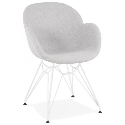 Sedia di design in stile industriale TOM in tessuto metallico bianco dipinto (grigio chiaro)