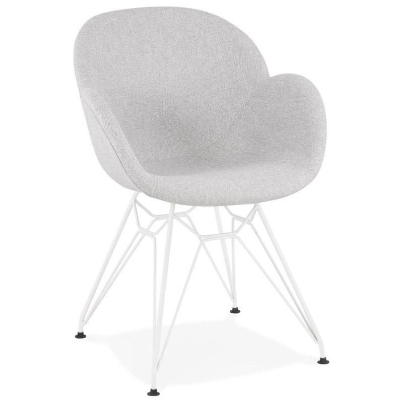 Chaise design style industriel TOM en tissu métal peint blanc (gris clair) - image 43402