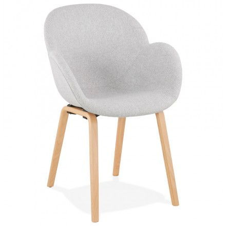 Chaise design scandinave avec accoudoirs CALLA en tissu  pieds couleur naturelle (gris clair)