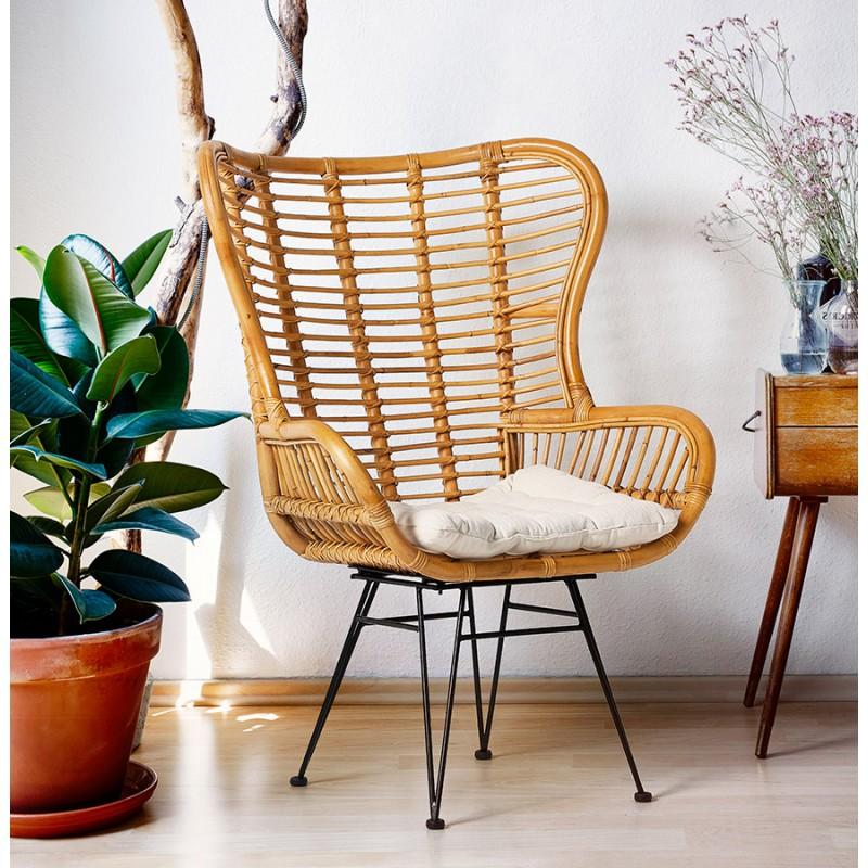Rattan chair with PITAYA foot restless black (natural) - image 43448
