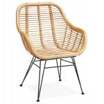 Rattan chair with SUMATRA foot restless black (natural)
