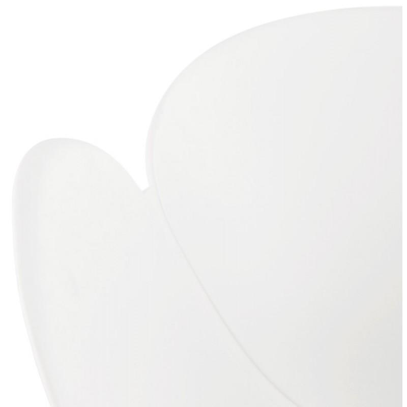 Chaise de bureau sur roulettes SORBIER en polypropylène pieds métal chromé (blanc) - image 43464