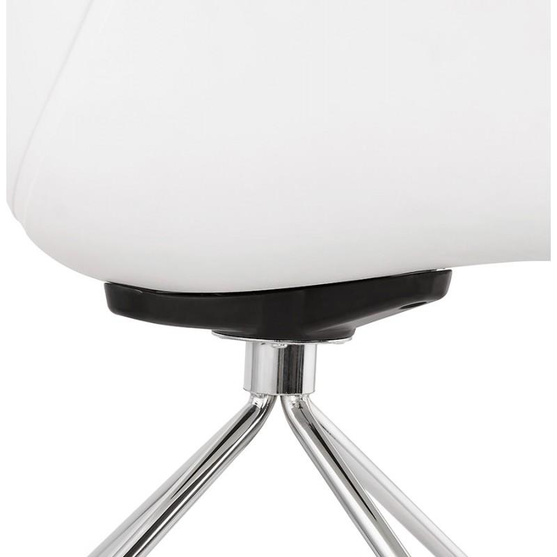 Chaise de bureau sur roulettes SORBIER en polypropylène pieds métal chromé (blanc) - image 43467