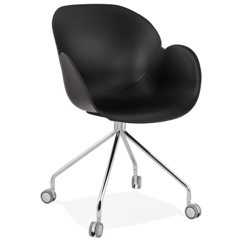 Chaise de bureau sur roulettes SORBIER en polypropylène  pieds métal chromé (noir)