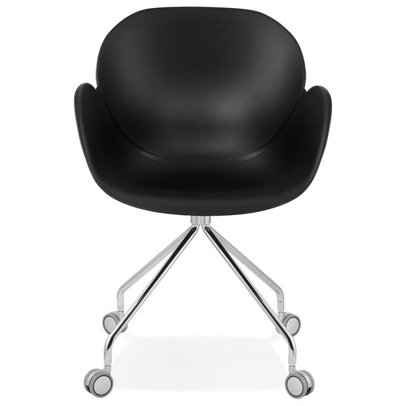 Sedia da tavolo SORBIER su ruote in piede in metallo cromato in polipropilene (nero) - image 43470