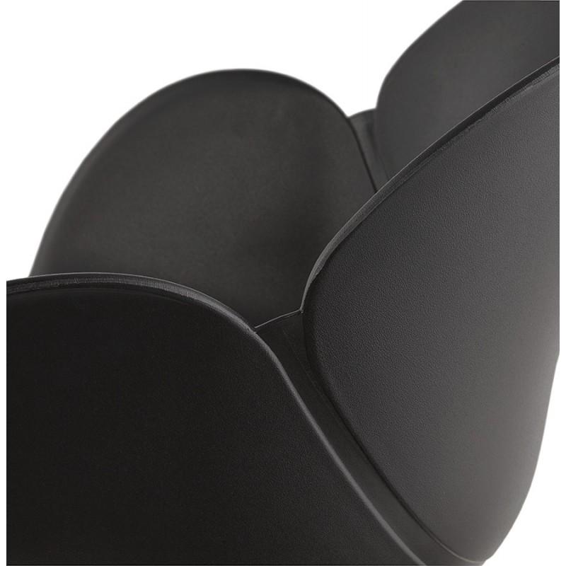 Sedia da tavolo SORBIER su ruote in piede in metallo cromato in polipropilene (nero) - image 43475